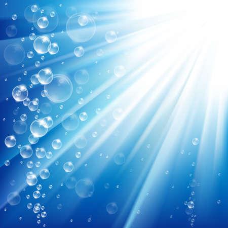 zuurstof: Blauwe oceaan van onderwater met bubbels met lichtstralen