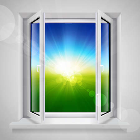 Opened plastic window with view of the green field Vector