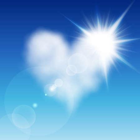 Corazón en forma de nubes en el cielo azul con sol después de él. Ilustración del día de San Valentín Foto de archivo - 8783946