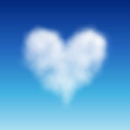 Heart shaped cloud in the blue sky. Valentine`s day illustration Vector
