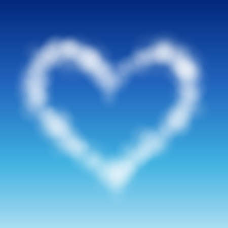 puffy: Heart shaped cloud in the blue sky. Valentine`s day illustration