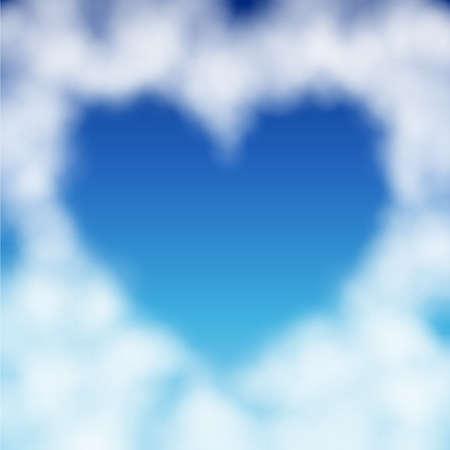 Heart shaped Cloud in den blauen Himmel. Valentinstag-Abbildung