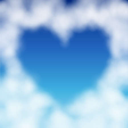 above clouds: Heart shaped cloud in the blue sky. Valentine`s day illustration