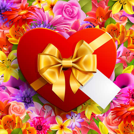 Red heart shaped gift with golden bow on flower background Vector
