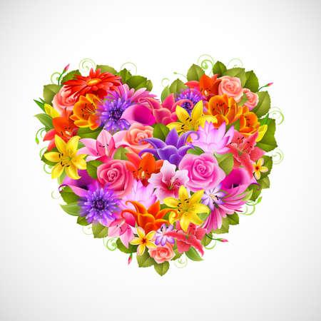 gerbera daisy: coraz�n de Bellas flores con rosas, gerberas, lirios y otros Vectores