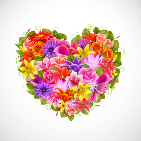 heart of beautiful flowers with roses, gerberas, lilies and others Vector