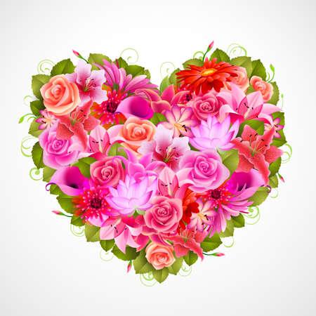 azahar: coraz�n de Bellas flores con rosas, gerberas, lirios y otros Vectores