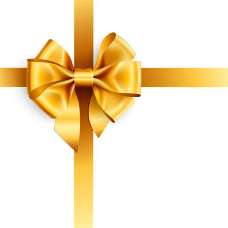ribbon: golden bow isolated on white. Vector illustration Illustration