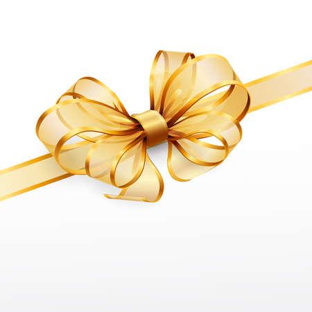 Golden Bow isolated on White. Vektor-illustration