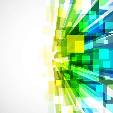 virtual technology: 3d bright abstract background with transparent cubes - vector illustration Illustration