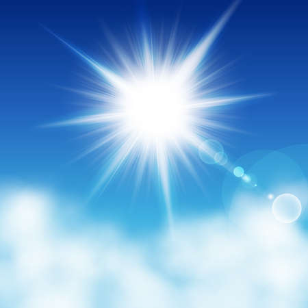 sunshine: Sun con rayos en un blu otro cielo las nubes. Ilustraci�n vectorial
