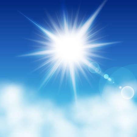 Zon met stralen over een blu hemel andere de wolken. Vectorillustratie