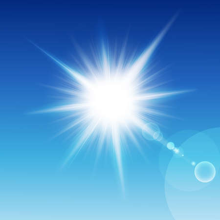 flash light: Sun with rays on a blu sky. Vector illustration