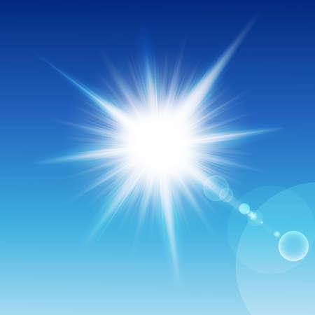 luz solar: Sun with rays on a blu sky. Vector illustration