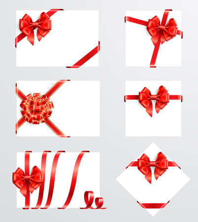 Collection of red bows with greeting cards. Vector illustration Stock Vector - 8783976