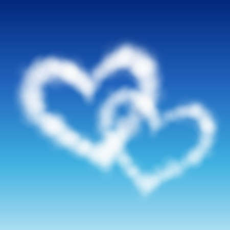 Two heart shaped clouds in the blue sky. Valentine`s day illustration Stock Vector - 8783972