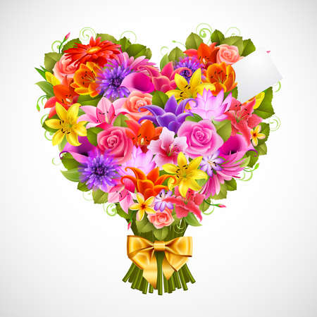 heart shaped posy of tender flowers with golden bow Vector