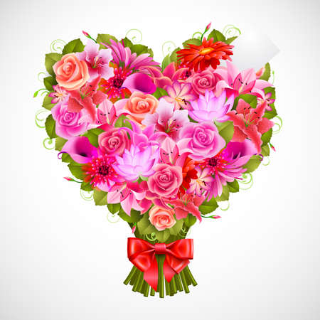nosegay: heart shaped posy of tender pink roses with red bow