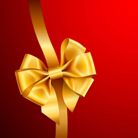 golden bow on red background. Vector illustration Stock Vector - 8783978