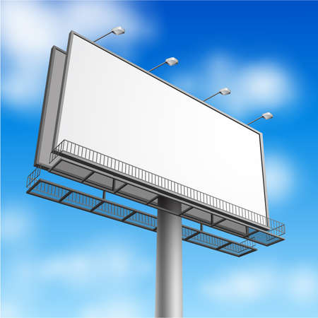 billboard posting: Blank, realistic vector advertising construction on blue sky background