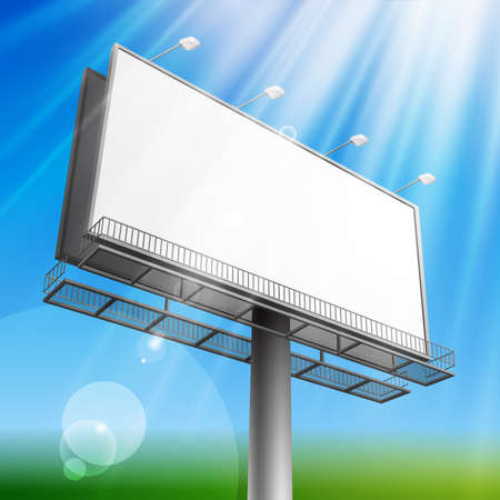 Blank, realistic vector advertising construction on blue sky background Stock Vector - 8977525