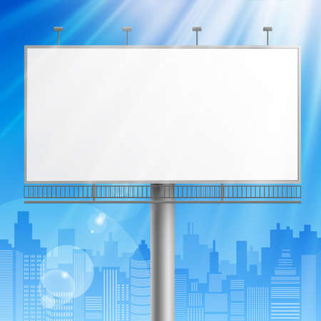 advertising construction: Blank, realistic vector advertising construction on blue sky background