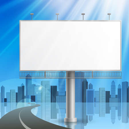 advertising construction: Blank, realistic vector advertising construction on city background Illustration