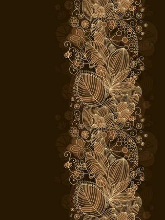 キャラメル: 暗い背景とテキストのための場所でシームレスな花柄  イラスト・ベクター素材