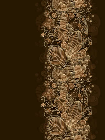 brown wallpaper: Seamless floral pattern with dark background and place for text