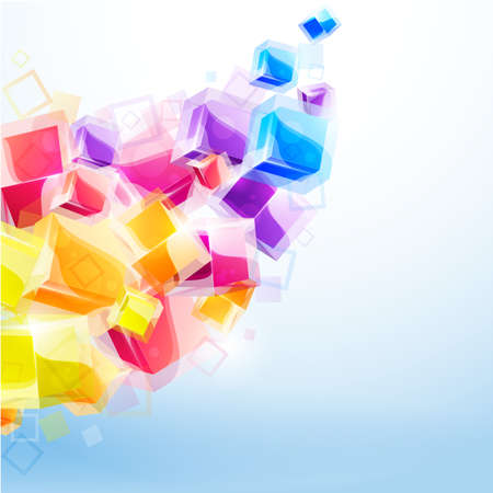 abstract cubes: 3d bright abstract background with transparent cubes - vector illustration Illustration