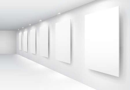 exposition art: Int�rieur de la galerie avec des cadres vides sur le mur