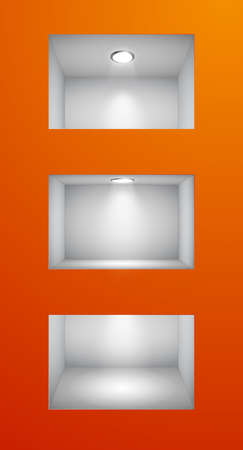 expansive: 3d Empty shelves for exhibit in the wall. Vector illustration.