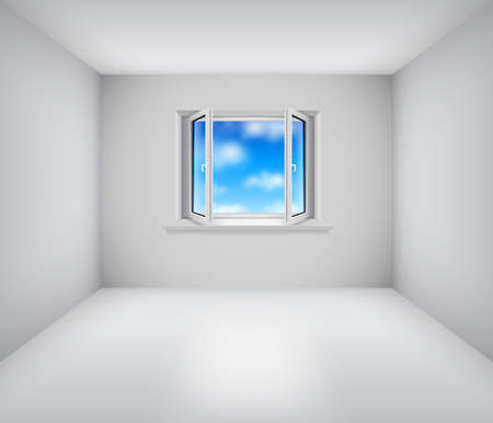 open window: Empty white room with open window and blue sky