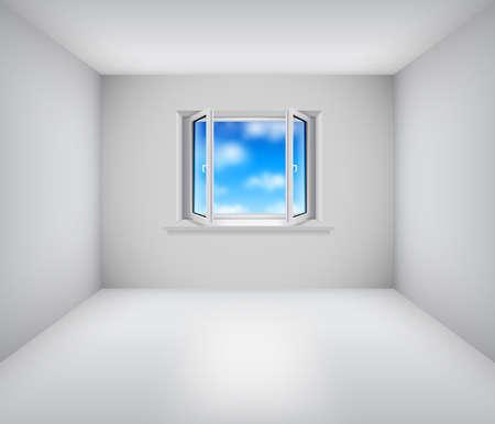 Leere weiße Zimmer mit offenen Fenster und blauen Himmel