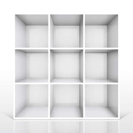 3d isolated Empty white bookshelf. Vector illustration Stock Vector - 9088810