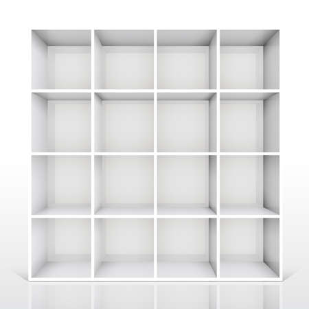 3d isolated Empty white bookshelf. Vector illustration Vector