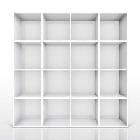 gallery interior: 3d isolated Empty white bookshelf. Vector illustration Illustration