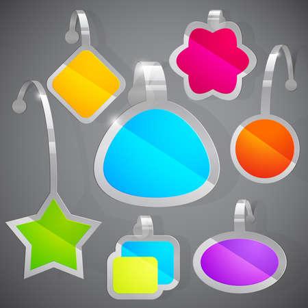 publicity: conjunto de coloridos adhesivos de publicidad. Ilustraci�n vectorial