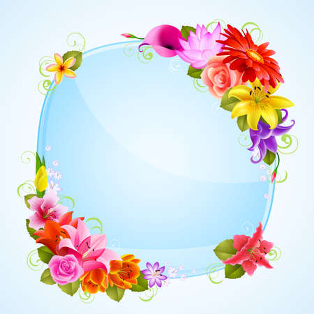 place for text: greeting card with flowers and place for text