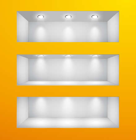 3d Empty shelves for exhibit in the wall. Vector illustration. Stock Vector - 9088812