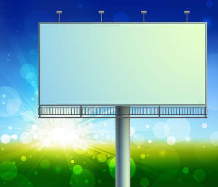 advertising construction: Blank, realistic vector advertising construction on green field background Illustration