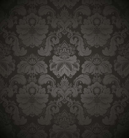 wallpaper pattern: Damask seamless floral pattern. Vintage vector illustration.