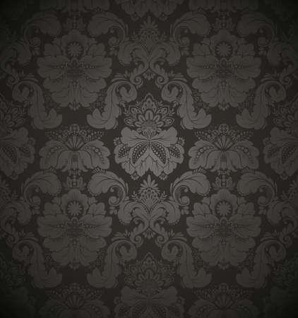 antiek behang: Damast naadloze bloemmotief. Vintage vectorillustratie.