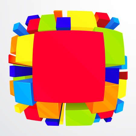 red cube: 3D colorato sfondo con effetto fisheye. Illustrazione vettoriale