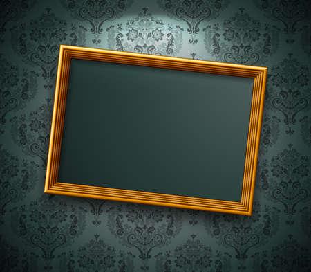 grunge photo frame: Cornice dorata sul muro. Vintage background