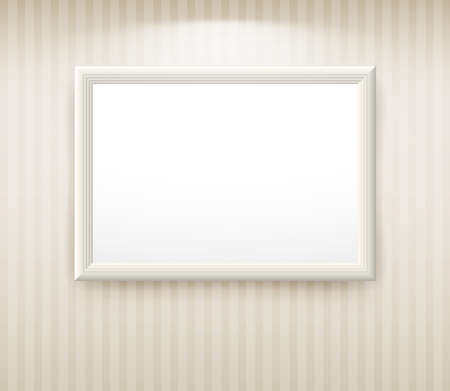 gallery wall: 3d empty frame on the wall. Vintage background Illustration