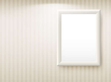 frame photo: 3d empty frame on the wall. Vintage background Illustration