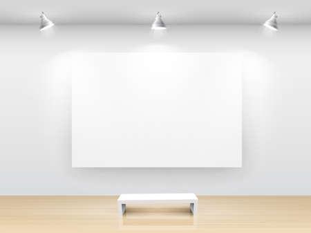 art gallery: Galleria interni con cornice vuota sul muro.