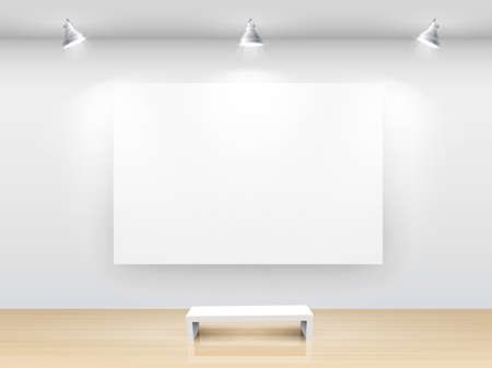 Gallery Interior with empty frame on wall. Stock Vector - 9194606