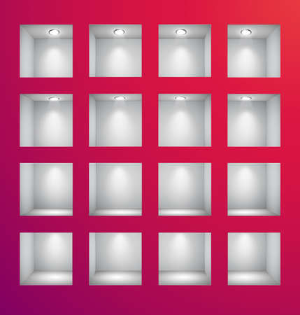 3d Empty shelves for exhibit in the wall. Vector illustration. Stock Vector - 9194588